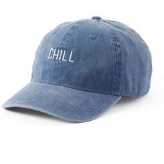 """Women's SO® """"Chill"""" Denim Baseball Cap ($9.99) ❤ liked on Polyvore featuring accessories, hats, headwear, blue, baseball caps, blue hat, denim baseball cap, blue baseball hat and brimmed hat"""