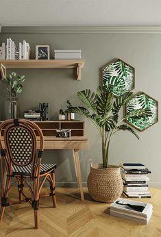Para lembrar ainda mais a natureza combine a parede verde com elementos em madeira Bedroom Green, Green Rooms, Room Colors, House Colors, Living Room Decor, Bedroom Decor, Home Office Decor, Colorful Decor, My Room