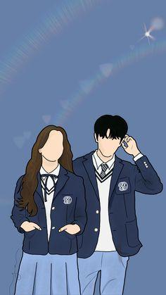 Cute Couple Drawings, Cute Couple Cartoon, Cute Couple Art, Cute Love Cartoons, Girl Cartoon, K Drama, Wattpad Book Covers, Cute Couple Wallpaper, Animated Love Images