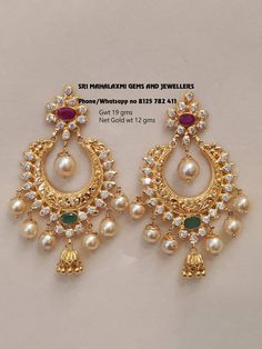 Get best finishing in light wt also. Presenting 12 gm Net Gold Wt Chandbali ear rings. Visit for best designs at most competitive prices on full range of ready selection or express delivery on made to order. Contact no 8125 782 411 11 April 2019 Gold Jhumka Earrings, Indian Jewelry Earrings, Jewelry Design Earrings, Gold Earrings Designs, Gold Jewellery Design, Bridal Jewelry, Jewellery Box, Jewellery Shops, Necklace Designs