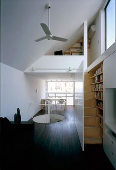 A hidden stairs/bookshelf combo on the wall to access the den.