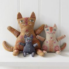 Cat Family Felt Embroidery Kit - Nancy Nicholson Make Papa, Mama and Kitten cat - includes everything you need to make the complete family apart from the stuffing. Contents: Three felt colours, thread, patterns, stitch suggestions, a needle and full stitch instructions. Stuffing is not included (Polyester toy stuffing recommended). All packed in a calico tote bags, which can also be embroidered and used to keep your project safe while you work. &n...