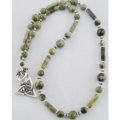 CONNEMARA MARBLE WITH TRINITY KNOT PENDANT,  $84.95. Made of genuine Connemara Marble, found only in the mountains of Ireland.
