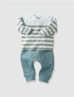 £11.20 Organic Collection Newborn Baby Outfit Grey stripe+Pink stripe