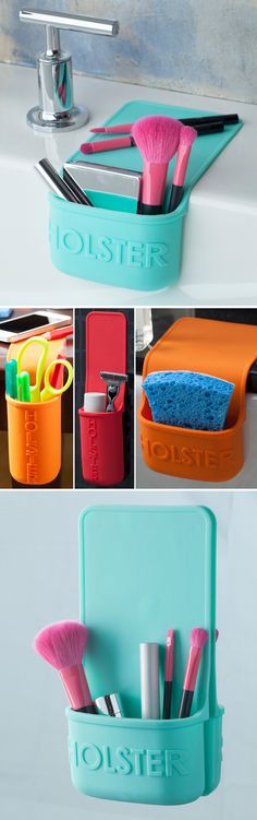 Lil Holster // Convenient storage where it's needed - A self-clinging heat-resistant holster! Can hold anything from kitchen sponges to hair irons in the bathroom... so clever! #product_design