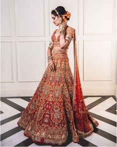Red and orange Tarun Tahiliani bridal lehenga - Design interests Designer Bridal Lehenga, Indian Bridal Lehenga, Indian Bridal Outfits, Indian Bridal Wear, Indian Fashion Dresses, Indian Wear, Bridal Lenghas, Indian Attire, Bridal Gowns