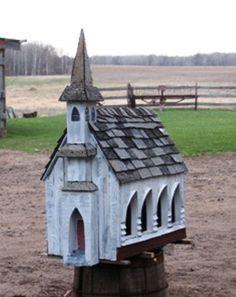 Love church birdfeeders/ houses!