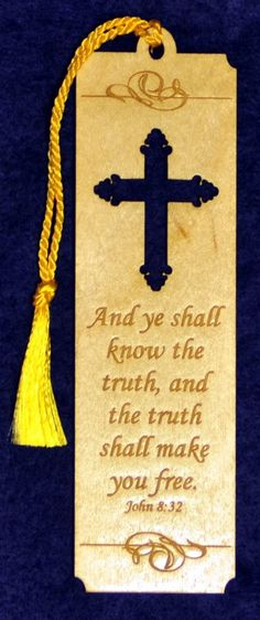Wood Scripture Bookmark  John 832 with Gregorian by cedarviewgifts, $4.00