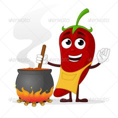 Chili Cook by zoljo Red pepper character cooking chili sauce. How To Cook Chili, Chili Cook Off, How To Cook Pasta, How To Cook Chicken, Cooking For Beginners, Cooking With Kids, Fun Cooking, Healthy Cooking, Cooking Videos