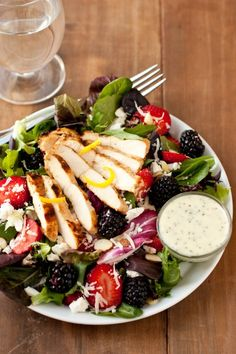 Salad with Berries, Grilled Lemon Chicken, Feta and Homemade Poppy Seed Dressing - Cooking Classy