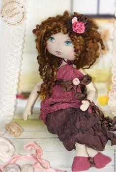 Купить Кукла авторская коллекционная Жаклин - бордовый, винный, вишневый, коричневый, гранатовый