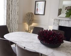 #Calacatta #Marble #table top and #fireplace