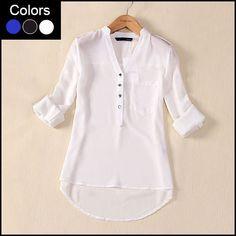Plus Size mulheres Chiffon blusa artigo Camisas Blusas Femininas 2015 Blusas Shirt Tops manga comprida feminina Sheer verão branco azul LB004 em Blusas de Roupas e Acessórios Femininos no AliExpress.com | Alibaba Group
