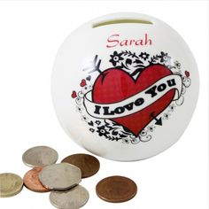 Personalised I Love you Tattoo Money Box from Personalised Gifts Shop - ONLY Personalised Money Box, Personalized Gifts For Her, Love Yourself Tattoo, Visa Gift Card, Valentines Gifts For Him, Romantic Gifts, Gifts For Women, Best Gifts, My Love