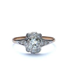 Closeup Front view of Early 20th Century Engagement Ring