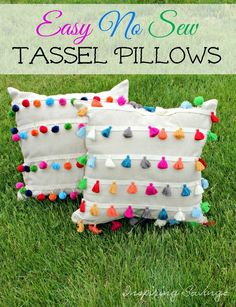 Pillows! This DIY No Sew Outdoor Tassel Pillows will add flair to your home and will not take all day to make. Here is how to make these outdoor pillows.