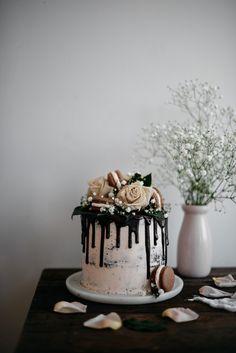 Dark Chocolate and Raspberry Cake with Earl Grey Swiss Meringue Buttercream /