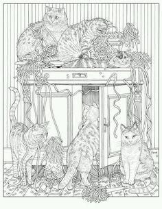 from Inkijkexemplaar Franciens kattenkleurboek - Francien van… Cat Coloring Page, Adult Coloring Book Pages, Animal Coloring Pages, Colouring Pages, Printable Coloring Pages, Coloring Books, Cat Colors, Cat Drawing, Colorful Pictures