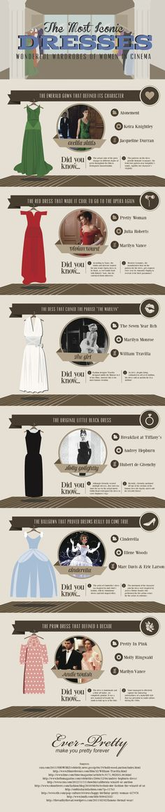 Fashion infographic & data visualisation The Most Iconic Dresses: Wonderful Wardrobes of Women in Cinema Infographic Infographic Description The Most Fashion Infographic, Fashion Beauty, Fashion Tips, Fashion Design, Vogue Fashion, Iconic Dresses, Fashion Vocabulary, Ever Pretty, Estilo Retro