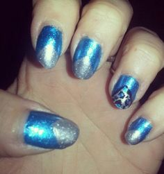 Blue and silver #nailart #nails #polishaddict #chinaglaze