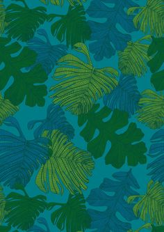 Monsteria Mix in Mangrove. Digital print wallpaper and fabric by Emily Ziz