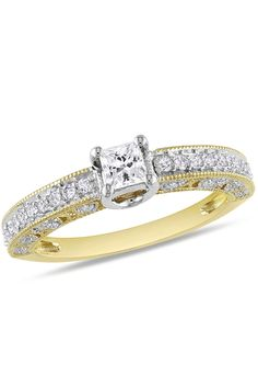 .5CT Diamond Engagement Ring In 14k Two-Tone Gold