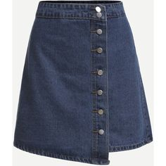Blue Button Front Wrap Denim Skirt (162.885 IDR) ❤ liked on Polyvore featuring skirts, blue, blue skirt, denim skirt, a-line skirts, short skirts and short wrap skirt