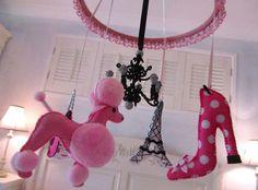 Nursery Mobile French theme with black chandelier by lilliputloft from lilliputloft on Etsy. Saved to Pretty Decor.