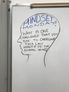 """Whiteboard Prompt - the theme of """"Mindset Monday"""" allows students to explore a growth mindset every week through journal entries and encourages that mindset to motivate students throughout the year. School Classroom, Classroom Activities, Teaching Themes, Journal Prompts, Journal Entries, Daily Writing Prompts, Writing Assignments, Bell Work, Responsive Classroom"""