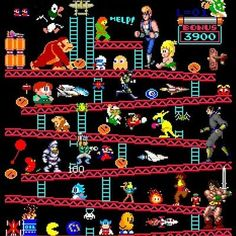 How many retro video games can you name from this pic? Video Games Consoles Console Mario Zelda Nintendo Switch Playstation Xbox One Retro Nostalgia Xbox Atari NES SNES Sega Genesis Master System Game Gear Gameboy GameCube Wii Wii U Video Vintage, Vintage Video Games, Classic Video Games, Retro Video Games, Vintage Games, Video Game Art, Retro Games, Donkey Kong, Culture Pop