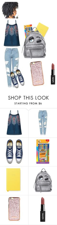 """""""First Day📒"""" by adorejlee ❤ liked on Polyvore featuring Monsoon, Topshop, Converse, BIC, Kate Spade and Chiara Ferragni"""
