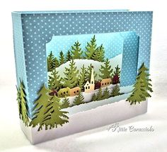 I have a diorama project to share with you today made using the Impression Obsession Hill Town, Fir Trees and Fir Tree Border. I was first introduced to diorama card making back in 2008 as a Splitcoaststampers. 3d Cards, Pop Up Cards, Christmas Cards, Box Cards Tutorial, Card Tutorials, Fancy Fold Cards, Folded Cards, Winter Karten, Rena