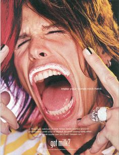 steven tyler by david lachapelle (when justin was in NYC he and his friends partied with mr. lachapelle for a few days. He has all the fun) David Lachapelle, Rick Astley, Calcium In Milk, Got Milk Ads, Steven Tyler Aerosmith, American Idol, Celebrity Pictures, Mustache, Celebrities