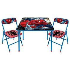 Marvel Spiderman Folding Table & Folding Chair Set Comes with Bonus Chair Furniture Desk And Chair Set, Table And Chairs, Room Chairs, Kids Folding Table, Folding Chairs, Folding Furniture, Plastic Tables, Game Sales, Kid Table