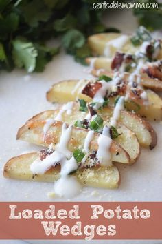 Need an appetizer recipe for the big game? You'll want to try this Loaded Potato Wedges recipe for a fun play on potato skins - including parmesan cheese, bacon, and cream.