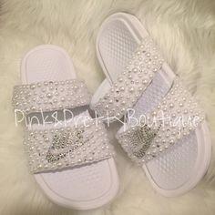 8405235d75ec0 Custom Pearl   Bling Nike Slides by PinkandPrettyBoutiq on Etsy Beach Slide