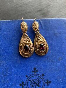 Garnet Earrings, Drop Earrings, Turquoise Stone, Victorian, Gemstones, Yellow, Antiques, Metal, Gold