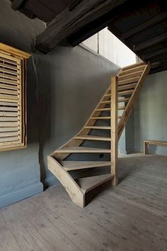 John Daniel saved to Cousaert - Furniture Design & Creation Attic Stairs, House Stairs, Modern Staircase, Staircase Design, Escalier Art, Wooden Stairs, Woodworking Projects Plans, Stairways, House Plans