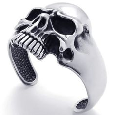 KONOV Jewelry Vintage Stainless Steel Skull Mens Cuff Bracelet - Color Black&Silver (with Gift Bag) http://www.skullclothing.net/?product=konov-jewelry-vintage-stainless-steel-skull-biker-tribal-mens-bangle-cuff-bracelet-color-black-silver-with-gift-bag