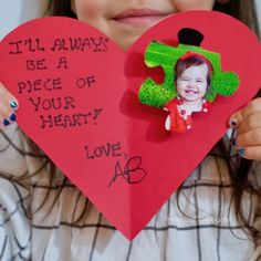 Kids - they'll always have a piece of your heart! Learn how to make this adorable puzzle piece kid Valentine card craft that loved ones will treasure always!