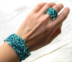 Ring made of Japanese delica seed beads. OOAK. Freeform peyote. Size - 9 (US)  You can find matching bracelet here: