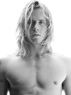 Naked surfer man with hair