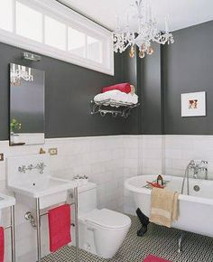 Black-and-White Bathroom - gray bathroom design interior design interior design design Bad Inspiration, Bathroom Inspiration, Grey Bathrooms, Beautiful Bathrooms, Modern Bathroom, Luxurious Bathrooms, Modern Toilet, Classic Bathroom, Bathroom Pictures