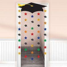 Grad Cap & Stars Graduation Door Curtain ensures a cool entrance to the graduation party! Grad Cap & Stars Graduation Door Curtain has a cardboard graduation cap. Graduation Crafts, Pre K Graduation, Graduation Banner, Graduation Party Supplies, Kindergarten Graduation, Graduation Decorations, School Decorations, Graduation Photos, In Kindergarten