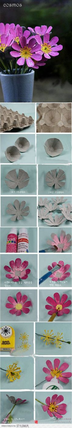 How to make flowers with an egg box / Comment fabriquer des fleurs avec une boîte doeufs en carton ? Kids Crafts, Summer Crafts, Arts And Crafts, Paper Crafts, Handmade Flowers, Diy Flowers, Fabric Flowers, Paper Flowers, Cosmos Flowers