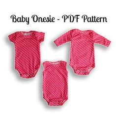 Sew a baby onesie with this PDF Sewing Pattern. It's available in Nb-3T. It features a snap bottom and is so cute! #MAMMACANDOIT #SEWINGPATTERN #SEWING #BABY #ONESIE #BABYONESIE Baby Sewing Projects, Sewing Projects For Beginners, Sewing For Kids, Free Sewing, Sewing Tips, Sewing Hacks, Sewing Ideas, Baby Sewing Tutorials, Easy Sewing Patterns