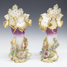 (2) OLD PARIS PARCEL GILT PORCELAIN POCKET VASES