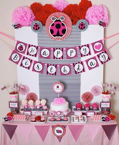 Pink Ladybug dessert table , DIY decoration by venspaperie