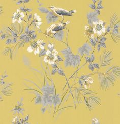 Rosemore Chartreuse wallpaper by 1838 Wallcoverings