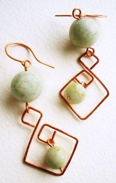 Copper Wire Jewelry, Handmade Wire Jewelry, Earrings Handmade, Beaded Jewelry, Handmade Copper, Wire Jewellery, Jewellery Shops, Etsy Handmade, Bijoux Fil Aluminium